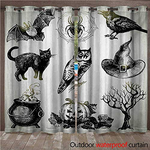 WilliamsDecor Vintage Halloween Home Patio Outdoor Curtain Halloween Related Pictures Drawn by Hand Raven Owl Spider Black Cat W84 x L96(214cm x -