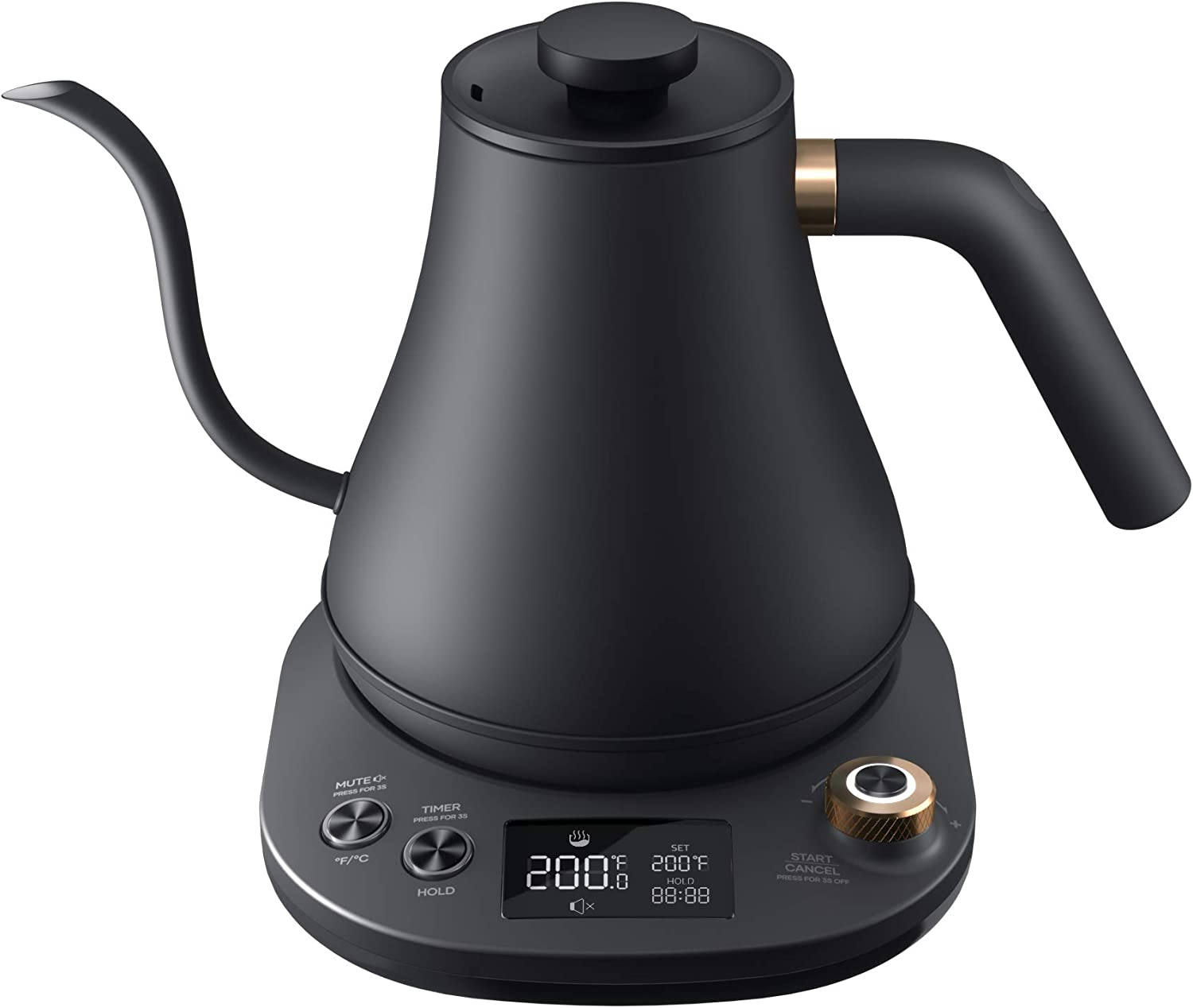 Willsence Gooseneck Kettle Temperature Control, Pour Over Electric Kettle for Coffee and Tea, 100% Stainless Steel Inner, 1200W Rapid Heating, 0.8L, Built-in Stopwatch