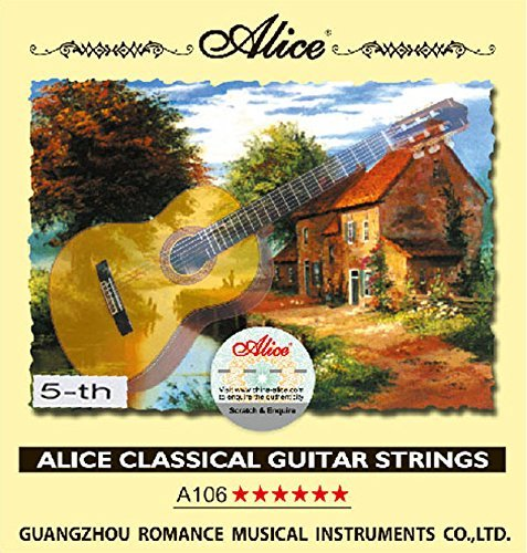 10pcs Alice A106 Clear Nylon Silver Plated 1-st 2-nd 3-rd 4-th 5-th 6-th E B G D A E Single Classical Guitar Strings (5th)
