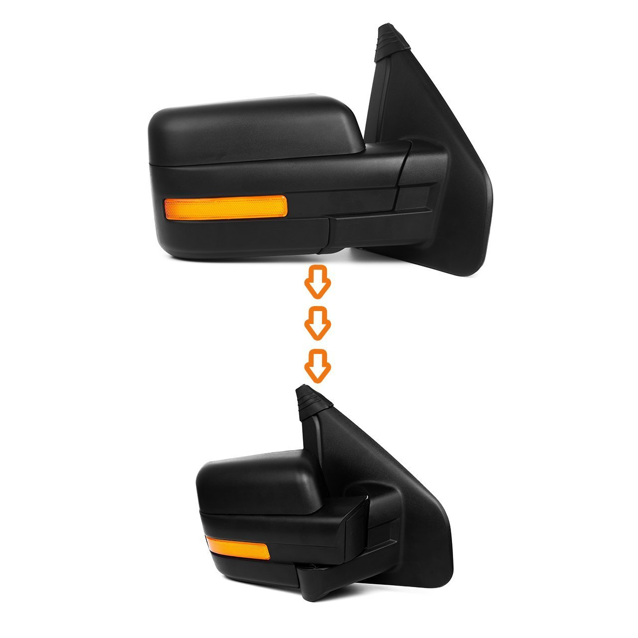 Scitoo Towing Mirrors fit Ford Exterior Accessories Mirrors fit 2007-2014 Ford F-150 Truck with Amber Turn Signal and Puddle Light Heated Power Controlling and Manual Folding Pair 050542-5206-1632183