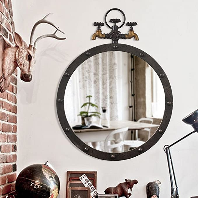 Rond Noir Miroir mural industriel Salle De Bain Salon Couloir Decor Display