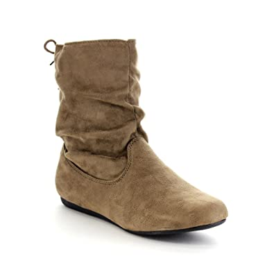 4fa0b78297fe Forever Link Selena-51 Women s Stylish Slouch Side Zipper Flat Heel Mid  Calf Boots