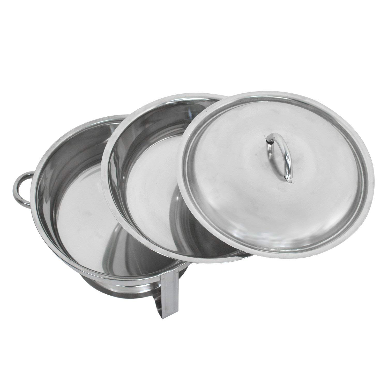 ZENY Pack of 3 Round Chafing Dish Full Size 5 Quart Stainless Steel Deep Pans Chafer Dish Set Buffet Catering Party Events Warmer Serving Set Utensils w/Fuel Holder