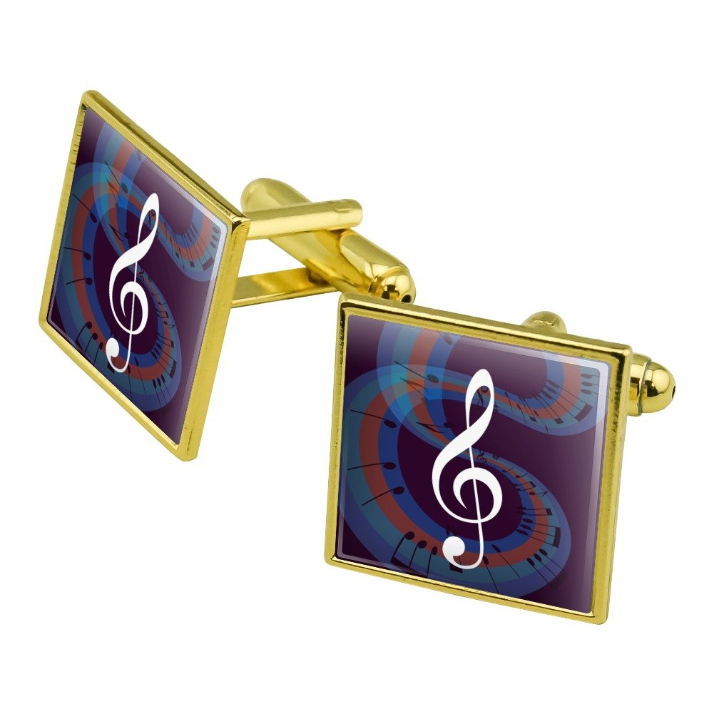 GRAPHICS /& MORE Treble Clef on Music Notes Round Tie Bar Clip Clasp Tack Silver Color Plated