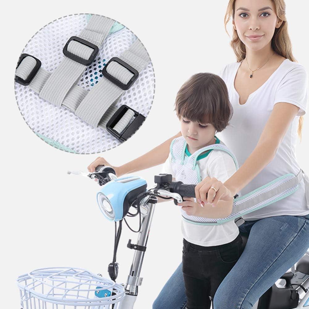 Imbracatura di sicurezza per bambini per moto con cinturino in rete traspirante regolabile cintura di sicurezza luminosa verde