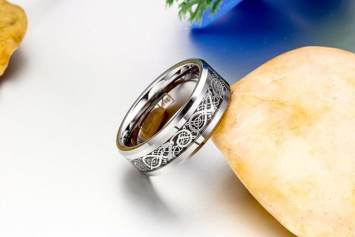 JewelryWe - Joyería, Anillo con Banda Plateado Negro irlandés Celta carburo de tungsteno tamaño 70 - con Bolsa de Regalo: Amazon.es: Joyería