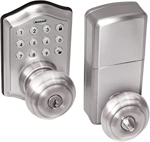 Honeywell Safes & Door Locks - 8732301 Electronic Entry Knob Door Lock, Satin Nickel