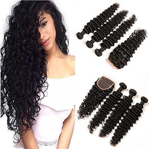 DAIMER Affordable Peruvian Remy Hair Deep Wave 3 Bundles with Lace Closure Unprocessed Remy Deep Curly Hair Extensions Weave Dark Brown(20 22 -