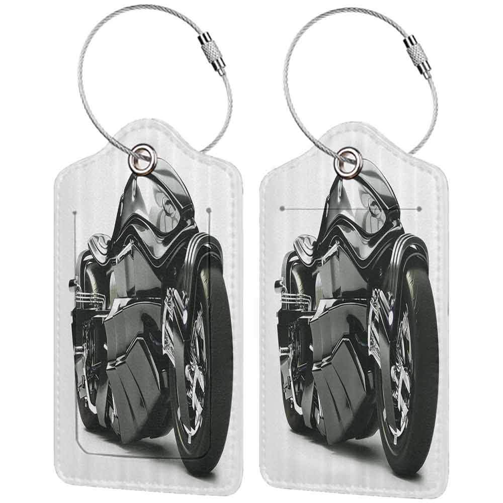 Small luggage tag Motorcycle Decor Futuristic Custom Motorcycle Image High Technology Unique Modern Lifestyle Graphic Art Quickly find the suitcase Black W2.7 x L4.6