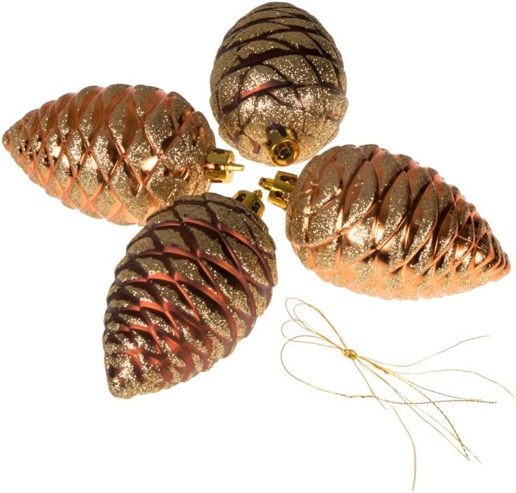 Clever Creations Pinecone Christmas Ornament Set of 4 Pieces, Shatterproof Holiday Décor for Christmas Trees, Copper and Gold