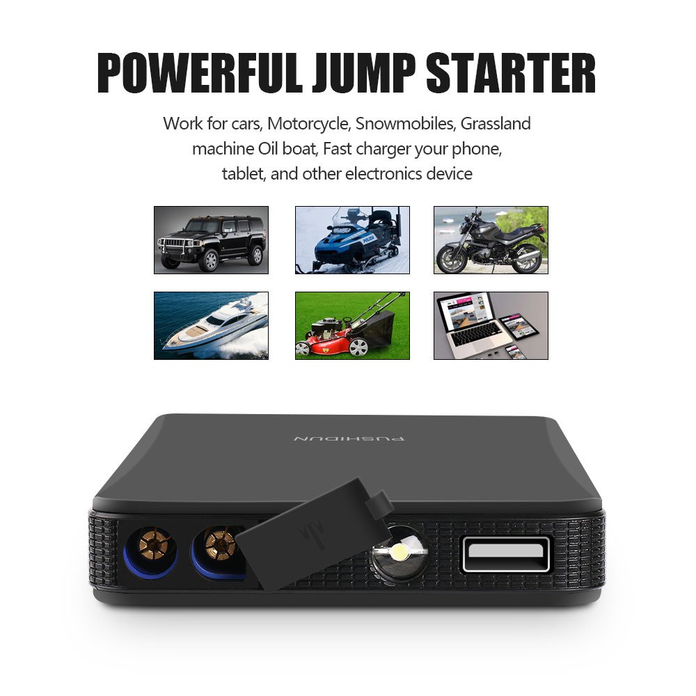 Portable Car Jump Starter Kit 6000mAh 400A Peak (Up to 2.5L Gas Car) Ultra-thin Mini Auto Battery Booster Jumper Emergency Power Pack with Smart Charging Port & LED Flashlight in 3 Modes. by PUSHIDUN (Image #2)