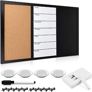 Navaris Combination Board Cork/Whiteboard/Chalkboard - 16 x 24 inches Combo Bulletin Magnetic Dry Erase Chalk Board Weekly Planner Message Organizer