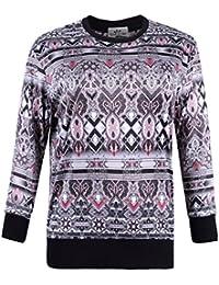 7b48afd8e4f Women s Plus Size Printed Fleece Lining Stretch Pullover T Shirt Sweatshirt