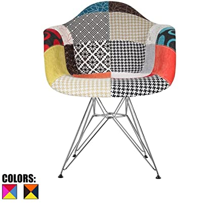 2xhome Mid Century Modern Fabric Patchwork Patterned Armchairs With Arms  Chrome Wire Metal Molded Shell Eiffel