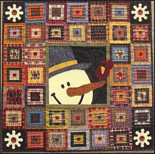 Cabin Friends Snowman Christmas Holiday Primitive Gatherings Wool Quilt (Primitive Log)