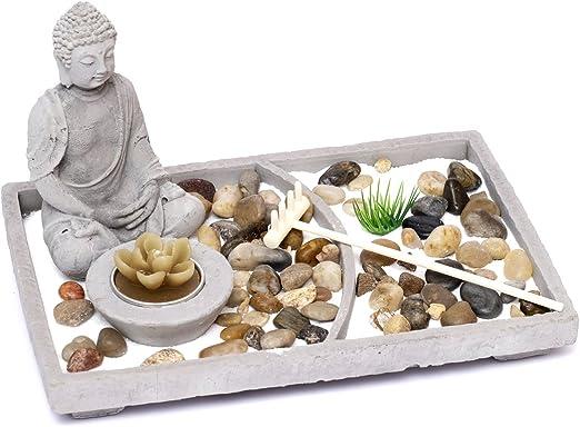 magnífico librum Diseño Jardín Zen Set Piedra Jardín Japonés con figura de Buda de cemento Decoración té luz decorativa: Amazon.es: Juguetes y juegos
