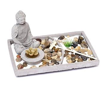 Brillibrum Design Zen Garten Set Japanischer Steingarten Mit Buddha Figur  Aus Zement Dekoration Teelicht Deko
