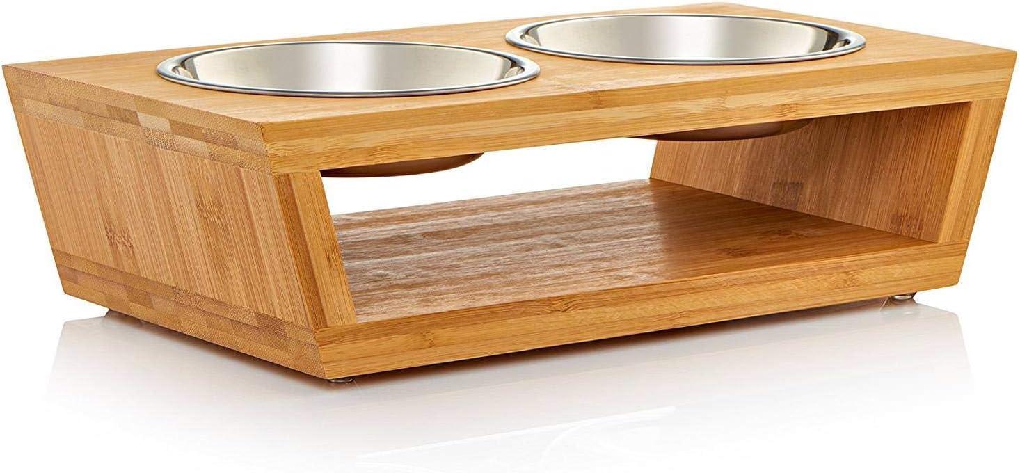 Migosset Comedero para Mascotas - Soporte Elevado de Bambu para Gatos y Perros Pequeños - Alimentador de Madera - 4 Tazones de Acero Inoxidable: 2 de 350ml, 2 de 600ml - 10 x 35,5 x 18 cm - Pequeño