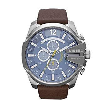 fa829cf0f9e Amazon.com  Diesel Men s DZ4281 Mega Chief Stainless Steel Brown Leather  Watch  Diesel  Watches