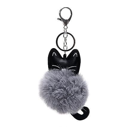 Llavero para llave de coche, de piel sintética, con diseño de gato, color gris