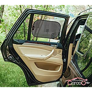 "Car window shade by CarCoo - (2 Pack) 20""x12"" Baby car sun shade, UV protection, privacy windows shade cling"