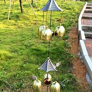 Chino Folk tradicional hecho a mano de Fengshui para colgar rogó carillón de viento al aire libre  interior decorativa libertad viento Bell energías colección 25-inches