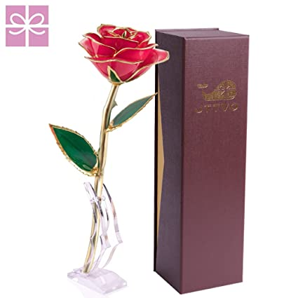 Amazon Com Valentines Day Gift For Her 24k Gold Dipped Rose