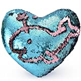 """LONGBLE Mermaid Pillow, Reversible Sequins Heart Shaped Home Decor Cushion Romatic Pillowcase with Insert Changing Color Magic Glitter Throw Pillows 13"""" x 14"""" (Blue and Antique Pink)"""