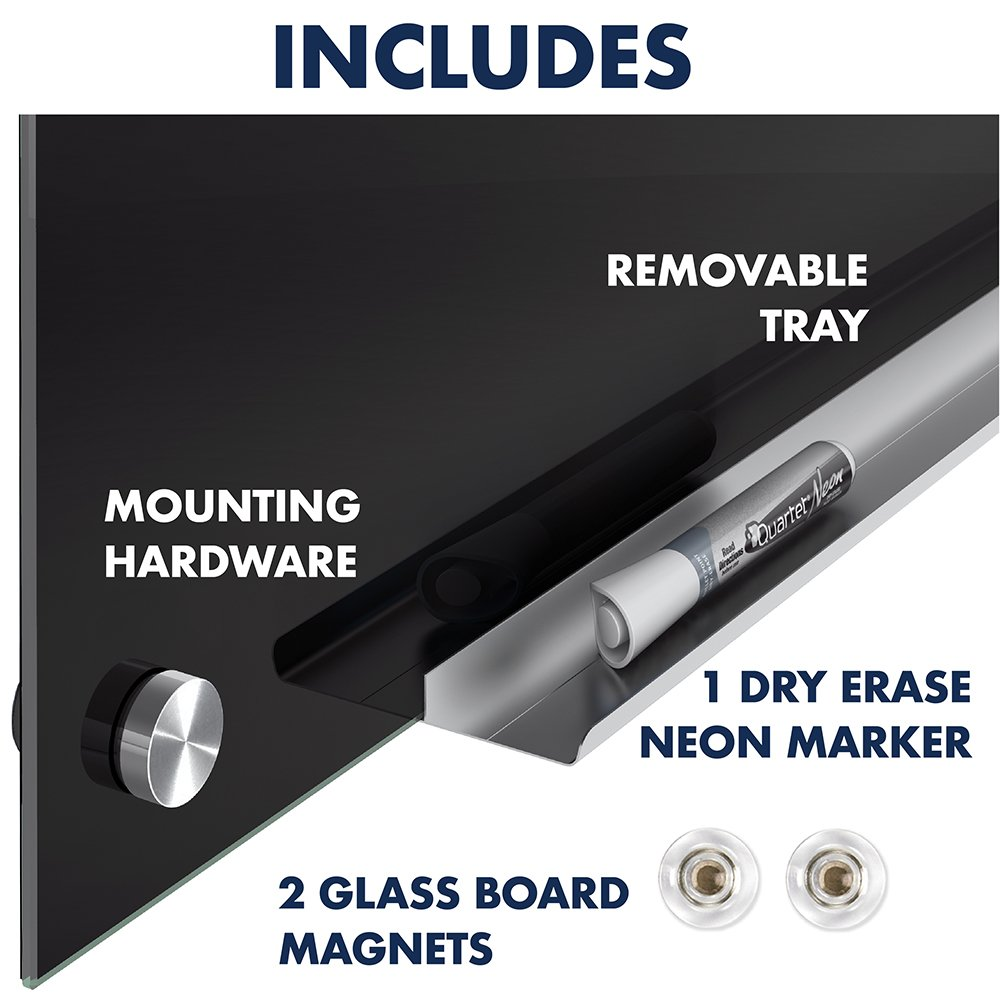 Quartet Glass Dry Erase Board, Magnetic Whiteboard, 2' x 1.5' White Board, Black Surface, Infinity (G2418B) by Quartet (Image #7)