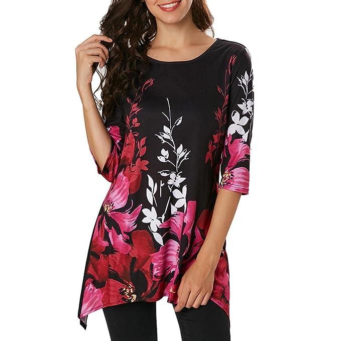 Yvelands Moda Femenina Elegante Hermoso O-Cuello Casual Floral Impreso Tres Cuartos Manga Irregular Tops Camiseta de Vestir Blusa de la Boda del Partido, ...