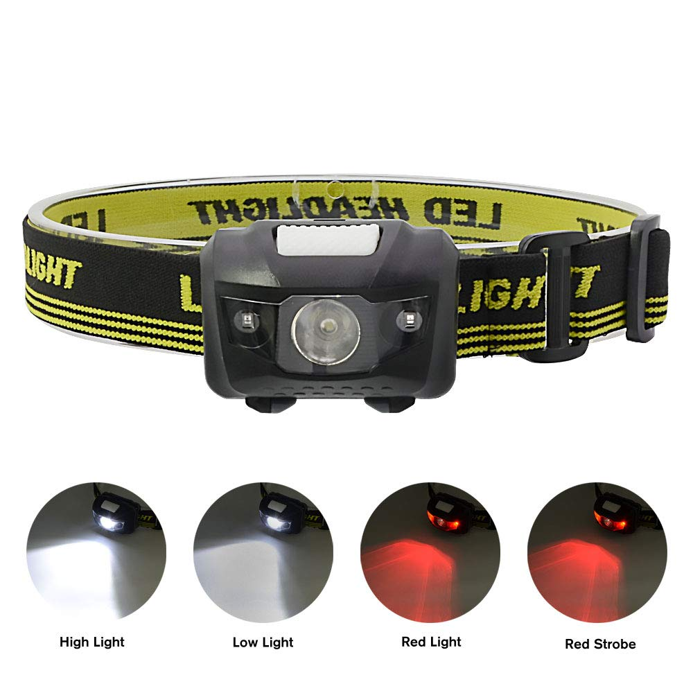 2pack WitMoving Headlamp Bright Headlight with 4 Modes AAA Battery Operated Lightweight Helmet Light for Camping Runing Reading Caving Hiking