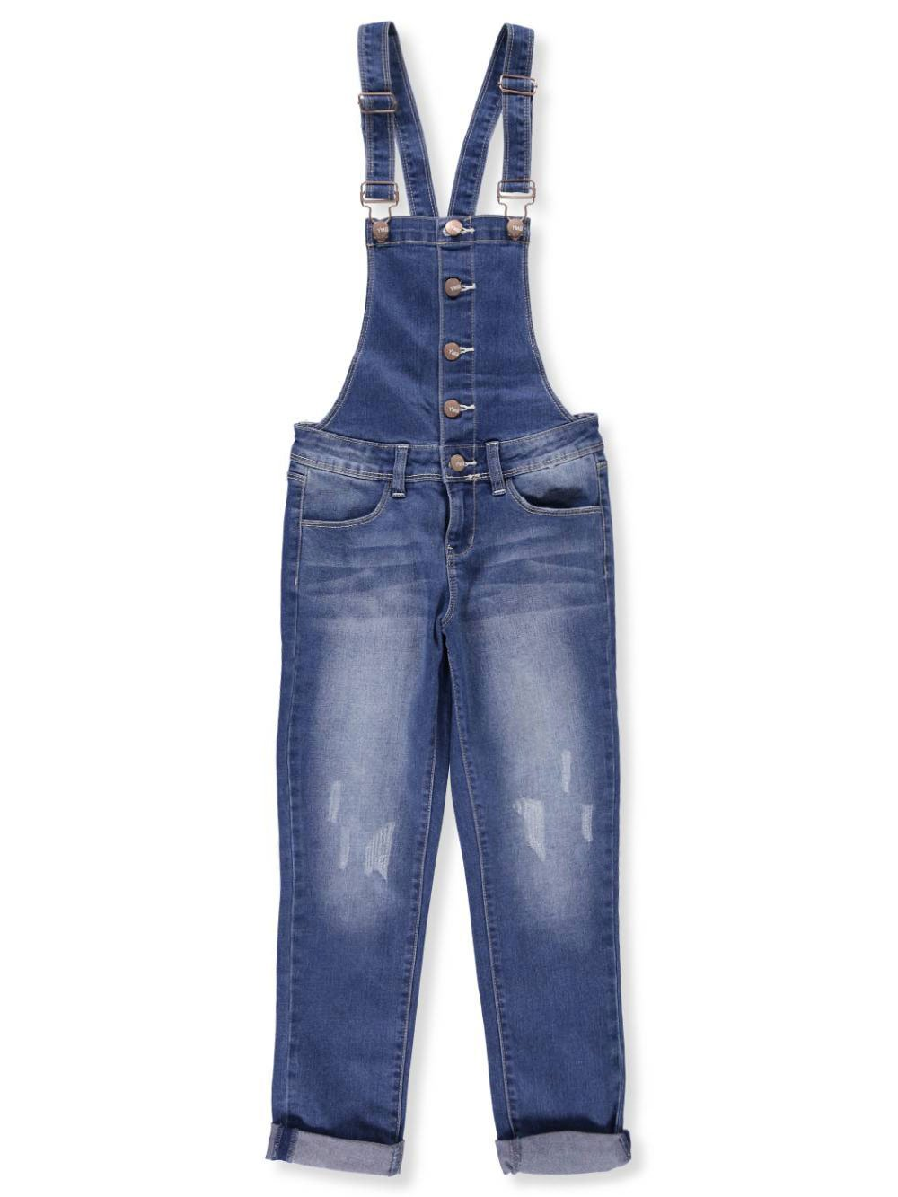 YMI Big Girls' Overalls - Denim Blue, 12