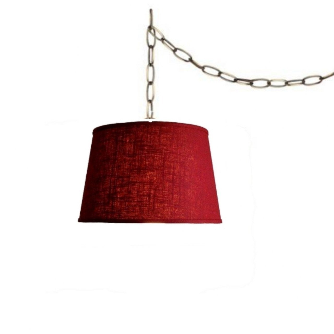 Upgradelights Red Portable Pendant Lamp Swag Light Linen Swag Lamp Plug In