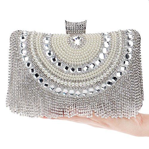 De KYS Petit Épaule Sac À Gland Strass silver À Main Pochette Cristal Perlés Sacs Chaîne Soirée Diamants Perle Femmes Main Sac B6rBSwxOUq
