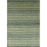 "Ecarpetgallery Hand-knotted Luribaft Gabbeh Riz Stripe patterns 4'8"" x 6'7"" Green 100% Art Silk area rug"
