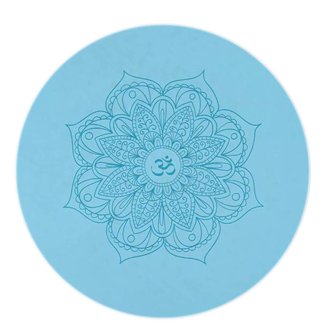 JESSIEKERVIN YY3 Runde Yoga Matte-Rutschfeste Naturkautschuk Handtuch Pu Printed Teppiche Meditation Matte 60  60  0,5 cm