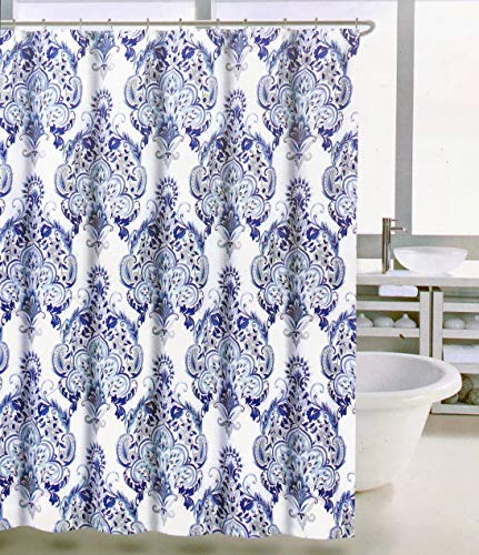Tahari Home Fabric Shower Curtain Floating Floral Medallions Pattern in Shades of Blue and Gray on White - Jubilant Damask