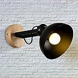 Bedside lamp wall lamp solid wood semi - circular lamp shade staircase restaurant bar cafe lighting