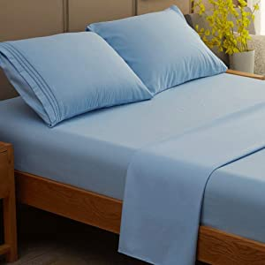 SONORO KATE Bed Sheet Set Super Soft Microfiber 1800 Thread Count Luxury Egyptian Sheets Fit 18 - 24 Inch Deep Pocket Mattress Wrinkle and Hypoallergenic-3 Piece (Lake Blue, Twin XL)