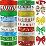 Lulu Home Christmas Ribbons, 90 Yards Holiday Grosgrain Satin Ribbons for Gifts Wrapping, Wedding, Hair Bows, Party Favor 18 PCS: more info