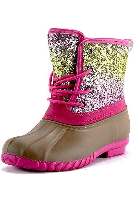 Girls Rainbow Glitter Duck Boots Size
