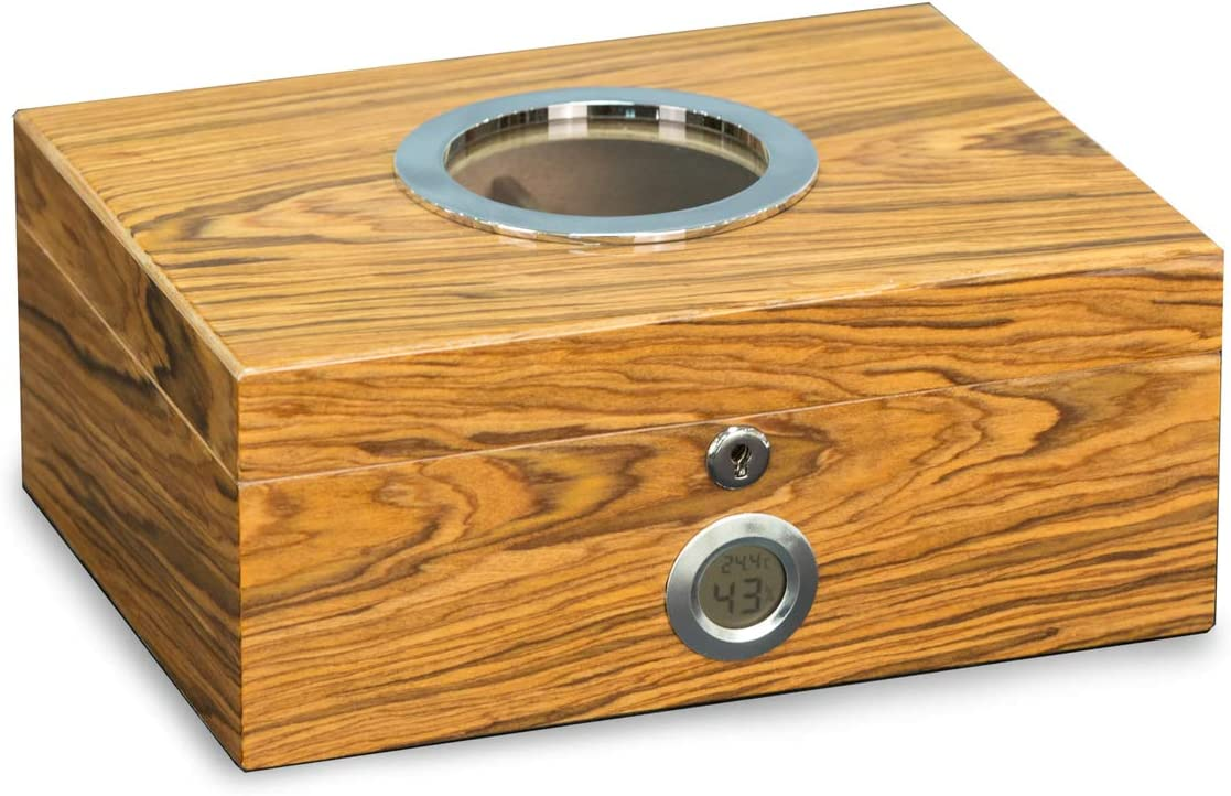 Lacquered Olive Wood 100 Cigar Humidor w Digital Hygrometer, Removeable Magnetic Humistat