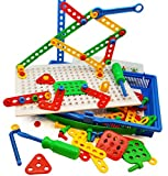 Construction Building Toys Tool Kit by Skoolzy - Complete Kids Preschool Screwing Tools Set - Boys and Girl Builder Shapes Toys