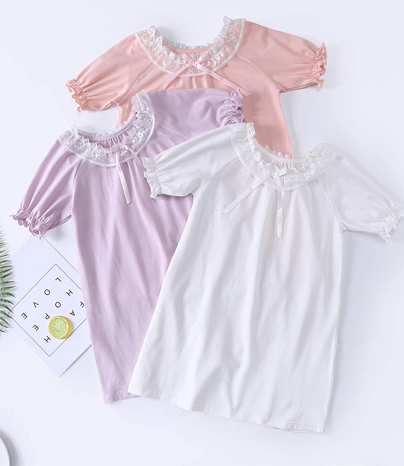 Kids Sleep Shirts Princess Sleepwear for Toddler 2-15 Years for Childrens Day HOYMN Little Girls Lace Cotton Nightgowns