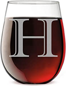 Monogram Etched 17oz Stemless Wine Glass (Letter H)