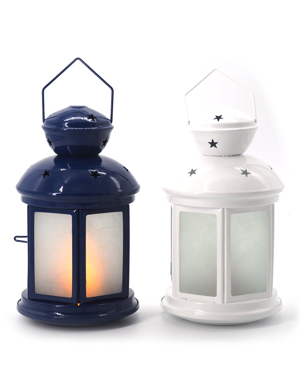 HomeBerry Decorative Hanging Lantern,Hexagon Style,Table Lamp and Desk Lamp, Battery Operated with Fire Glow flickering flame LED candle,Indoor-Outdoor Use. (Blue) Xiamen Henry Arts Co Ltd