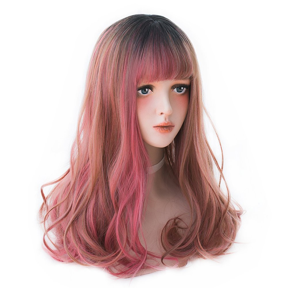 9d30c434e46 Amazon.com   Long Wavy Red Ombre Wig - Lolita Bang Wig Highlights with Dark  Root For White Women