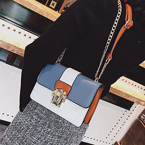 Small ZLLNSXKB Fashion Blue Daypack Crossbody Ms Bolso Color Hit Square Shoulder Bags Wild Paquete zzF1r4O