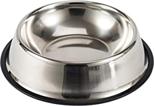 Petworld Paragon Stainless Steel Dog Bowl with Noise Reduction Non-Slip Rubber Base & Solid Durable Easy-Cleaning Anti-Rust Water and Food Feeder for Dogs and Cats(22cm)