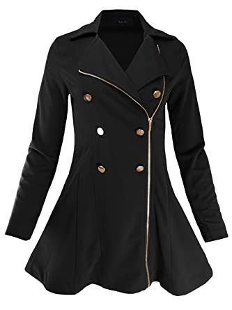 28c47eecfae03 Ladies  Code Double Breasted Zip Up Fit   Flare Peacoat Trenchcoat Black  2XL Size